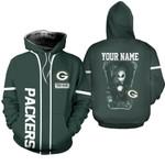 Jack Skellington Green Bay Packers Black 3D Allover Custom Name Gift For Packers Fans Halloween Lovers Hoodie