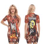 Jack Skellington In Freddy Krueger Chicago Bears Orange Drop Painting 3D Allover Custom Name Gift For Bears Fans Halloween Lovers Polo Collar Dress