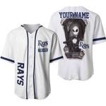 Jack Skellington Tampa Bay Rays White 3D Allover Custom Name Gift For Rays Fans Halloween Lovers Baseball Jersey