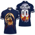Jack Skellington New York Yankees Nightmare Navy 3D Allover Custom Name Number Gift For Yankees Fans Halloween Lovers Polo shirt