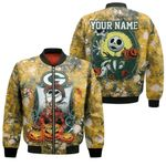 Jack Skellington In Freddy Krueger Green Bay Packers Gold Drop Painting 3D Allover Custom Name Gift For Packers Fans Halloween Lovers Bomber Jacket