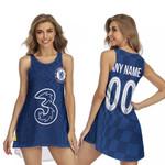 Chelsea Football Team Home Jersey Style 3D Allover Custom Name Number Gift For Chelsea Fans Sleeveless Dress