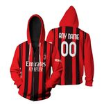 AC Milan Football Team Home Jersey Style 3D Allover Custom Name Number Gift For AC Milan Fans Zip Hoodie
