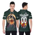 Jack Skellington Green Bay Packers Nightmare Navy 3D Allover Custom Name Number Gift For Packers Fans Halloween Lovers Short Sleeve Hoodie