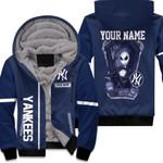 Jack Skellington New York Yankees Navy 3D Allover Custom Name Gift For Yankees Fans Halloween Lovers Fleece Hoodie