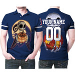 Jack Skellington Boston Red Sox Nightmare Navy 3D Allover Custom Name Number Gift For Red Sox Fans Halloween Lovers Polo shirt