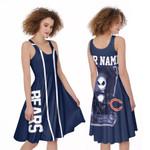 Jack Skellington Chicago Bears Navy 3D Allover Custom Name Gift For Bears Fans Halloween Lovers A-line Dress