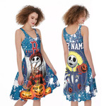 Jack Skellington In Freddy Krueger Boston Red Sox Blue Drop Painting 3D Allover Custom Name Gift For Red Sox Fans Halloween Lovers A-line Dress