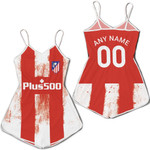 Atletico Madrid Football Team Home Jersey Style 3D Allover Custom Name Number Gift For Atletico Madrid Fans Romper Jumpsuit