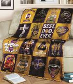 Los Angeles Lakers Champions Best Dad Ever American By Birth Lakers By Choice Professional Basketball Team gift for Lakers fans Fleece Blanket