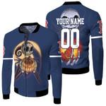 Jack Skellington Boston Red Sox Nightmare Navy 3D Allover Custom Name Number Gift For Red Sox Fans Halloween Lovers Fleece Bomber Jacket