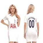 Tottenham Hotspur Football Club Home Jersey Style 3D Allover Custom Name Number Gift For Tottenham Hotspur Fans Polo Collar Dress