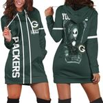 Jack Skellington Green Bay Packers Black 3D Allover Custom Name Gift For Packers Fans Halloween Lovers Hoodie Dress