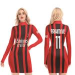 AC Milan Zlatan Ibrahimovic 11 Home Jersey Style 3D Allover Gift For AC Milan Fans Waist Hollow Hip Dress