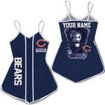 Jack Skellington Chicago Bears Navy 3D Allover Custom Name Gift For Bears Fans Halloween Lovers Romper Jumpsuit
