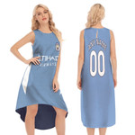 Manchester City Football Club Home Jersey Style 3D Allover Custom Name Number Gift For Manchester City Fans Sleeveless Long Dress