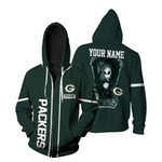 Jack Skellington Green Bay Packers Black 3D Allover Custom Name Gift For Packers Fans Halloween Lovers Zip Hoodie