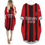 AC Milan Zlatan Ibrahimovic 11 Home Jersey Style 3D Allover Gift For AC Milan Fans Batwing Pocket Dress