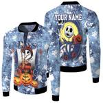Jack Skellington In Freddy Krueger Tampa Bay Rays Blue Drop Painting 3D Allover Custom Name Gift For Rays Fans Halloween Lovers Fleece Bomber Jacket
