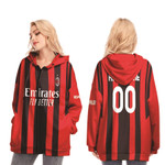 AC Milan Football Team Home Jersey Style 3D Allover Custom Name Number Gift For AC Milan Fans Long Zip Hoodie