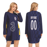 Chelsea Football Team Home Jersey Style 3D Allover Custom Name Number Gift For Chelsea Fans Long Sweatshirt