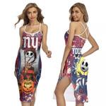 Jack Skellington In Freddy Krueger New York Giants Red Drop Painting 3D Allover Custom Name Gift For Giants Fans Halloween Lovers Back Cross Dress