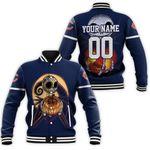 Jack Skellington Chicago Bears Nightmare Navy 3D Allover Custom Name Number Gift For Bears Fans Halloween Lovers Baseball Jacket