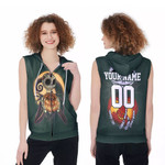 Jack Skellington Green Bay Packers Nightmare Navy 3D Allover Custom Name Number Gift For Packers Fans Halloween Lovers Zip Sleeveless Hoodie