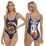 Jack Skellington New York Giants Nightmare Navy 3D Allover Custom Name Number Gift For Giants Fans Halloween Lovers One Piece Swimsuit