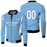 Manchester City Football Club Home Jersey Style 3D Allover Custom Name Number Gift For Manchester City Fans Fleece Bomber Jacket