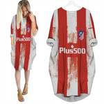Atletico Madrid Football Team Home Jersey Style 3D Allover Custom Name Number Gift For Atletico Madrid Fans Batwing Pocket Dress