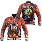 Jack Skellington In Freddy Krueger Chicago Bears Orange Drop Painting 3D Allover Custom Name Gift For Bears Fans Halloween Lovers Baseball Jacket