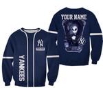Jack Skellington New York Yankees Navy 3D Allover Custom Name Gift For Yankees Fans Halloween Lovers Sweater