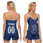 Chelsea Football Team Home Jersey Style 3D Allover Custom Name Number Gift For Chelsea Fans V-neck Romper Jumpsuit