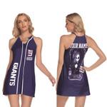 Jack Skellington New York Giants Navy 3D Allover Custom Name Gift For Giants Fans Halloween Lovers Ring Neck Halter Dress