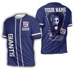 Jack Skellington New York Giants Navy 3D Allover Custom Name Gift For Giants Fans Halloween Lovers 3D T-shirt