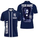 Jack Skellington New York Yankees Navy 3D Allover Custom Name Gift For Yankees Fans Halloween Lovers Polo shirt