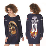 Jack Skellington Chicago Bears Nightmare Navy 3D Allover Custom Name Number Gift For Bears Fans Halloween Lovers Lace-up Sweatshirt