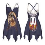 Jack Skellington Boston Red Sox Nightmare Navy 3D Allover Custom Name Number Gift For Red Sox Fans Halloween Lovers Back Cross Sleeveless Dress