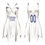 Real Madrid Football Club Home Jersey Style 3D Allover Custom Name Number Gift For Real Madrid Fans Back Cross Sleeveless Dress