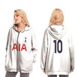 Tottenham Hotspur Harry Kane 10 Football Club Home Jersey Style 3D Allover Gift For Tottenham Hotspur Fans Long Zip Hoodie