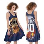Jack Skellington Chicago Bears Nightmare Navy 3D Allover Custom Name Number Gift For Bears Fans Halloween Lovers A-line Dress
