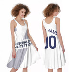 La Galaxy Football Club Home Colors 3D Allover Custom Name Number Gift For LA Galaxy Fans A-line Dress