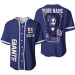 Jack Skellington New York Giants Navy 3D Allover Custom Name Gift For Giants Fans Halloween Lovers Baseball Jersey