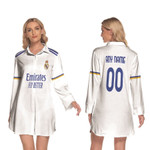 Real Madrid Football Club Home Jersey Style 3D Allover Custom Name Number Gift For Real Madrid Fans Longsleeve Lapel Dress