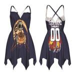 Jack Skellington New York Yankees Nightmare Navy 3D Allover Custom Name Number Gift For Yankees Fans Halloween Lovers Back Cross Sleeveless Dress