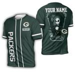 Jack Skellington Green Bay Packers Black 3D Allover Custom Name Gift For Packers Fans Halloween Lovers 3D T-shirt