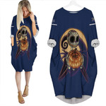 Jack Skellington Tampa Bay Rays Nightmare Navy 3D Allover Custom Name Number Gift For Rays Fans Halloween Lovers Batwing Pocket Dress