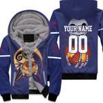 Jack Skellington New York Giants Nightmare Navy 3D Allover Custom Name Number Gift For Giants Fans Halloween Lovers Fleece Hoodie