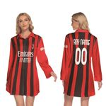 AC Milan Football Team Home Jersey Style 3D Allover Custom Name Number Gift For AC Milan Fans Longsleeve Lapel Dress